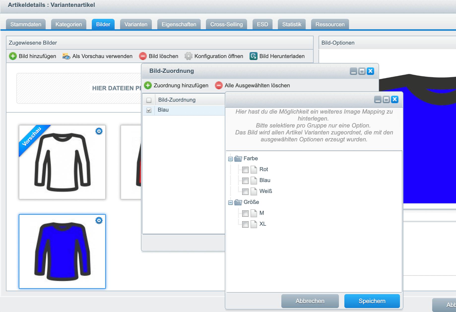 Shopware für Produktvarianten Bilder mappen