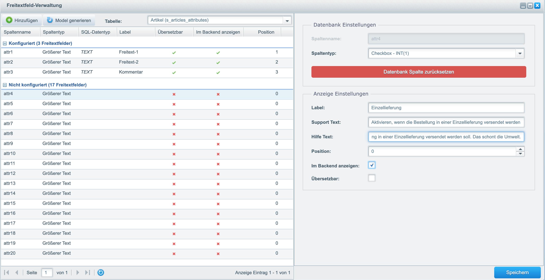 Shopware: Beispiel für Freitextfeld-Konfiguration